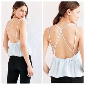 Silence + Noise Plunging Strappy Babydoll Cami Top